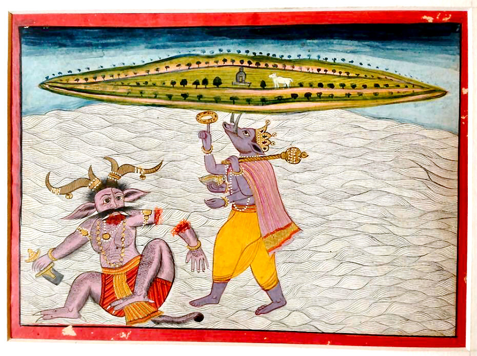 Lord Varaha Holds a Flat-earth