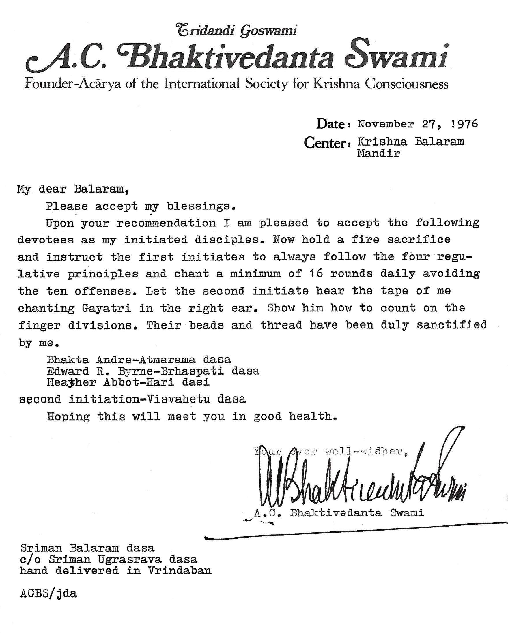 Srila Prabhupada's Ritvik initiation letter