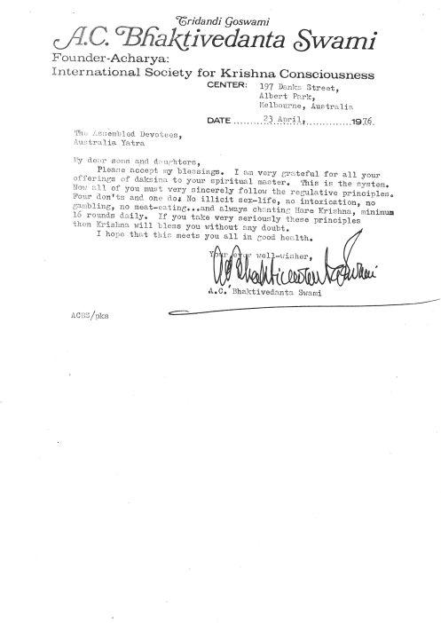 Srila Prabhupada's letter Melbourne 1975, click for PDF