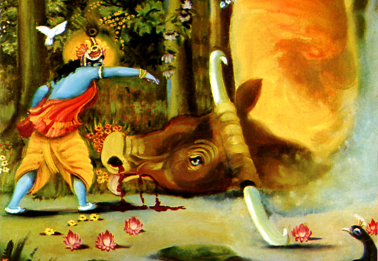 Krishna kills the demoniac bull Aristasura